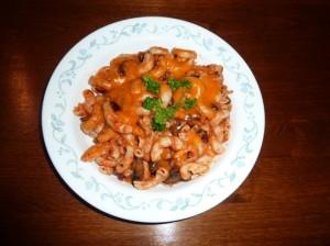 a bowl of mushroom burger pasta casserole